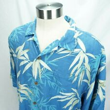 Tommy Bahama Mens Blue Bamboo Leaves Silk Button Shirt Size 2XL XXL