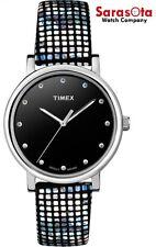 Timex T2P481 Black Swarovski Dial Black Dotted Leather Quartz Women's Watch