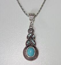 K079 - Halskette - NEU - Kette Tropfen Türkis Stein Silberfarben Vintage Strass