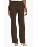 Lafayette 148 size 2 Dress Casual Pants Brown Straight Leg Ankle Cotton Spandex