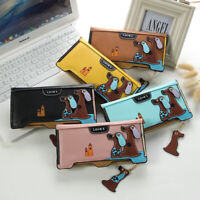 Womens Cute Puppy Dog Long Wallet Lady Leather Zip Clutch Card Holder Purse