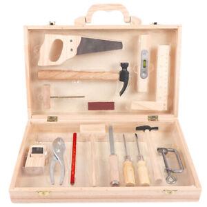 Kids Children Boys Deluxe Wooden Pretend Play Carpenter Tool Box Toys Set Age 8+