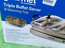 Gourmet Triple Buffet Server  And Warming Tray
