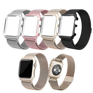 New Milanese Loop Watch Band Strap Metal Case for Apple Watch series 4 40mm 44mm