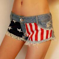 Sexy Girl American USA Flag Mini Jeans Shorts Hot Pants Trousers Denim Low Waist