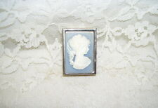 WHITE ON BLUE CAMEO SILVER PILL BOX W/ TWO SMALL COMPARMENTS INSIDE HONG KONG