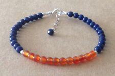 Lapis Lazuli+Orange CARNELIAN Beads, Sterling Silver, Beaded Friendship Bracelet