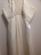 STELLINI NWOT Sz10/12* Formal / Wedding / Debutante Sequin Dress Cream 100% SILK
