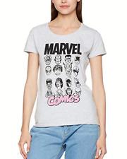 Marvel Comics Womens Multi Heads Ladies Casual Grey T Shirt size L Large RRP £24
