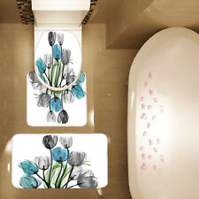 3 Piece Tulip Blue and Gray Flowers Bath Mat Set Carpet Contour Mat Toilet Cover