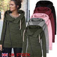 UK Warm Winter Lady Long Sleeve Hooded Cardigan Zip Up Jacket Coat Plus Size
