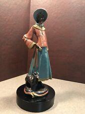 Sculpture Art woman w/ dog poodle Vintage Resin