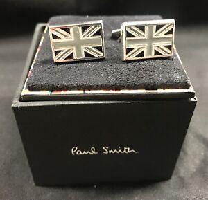 NEW Paul Smith Sterling Silver 925 Twisted shaft Monochrome Union Jack Cufflinks