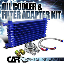Blue 10-Row 10AN Engine/Transmission/Differential Oil Cooler+Adapter+Hose