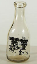 Vintage Ultra Rare MILL STREAM DAIRY Quart Milk Bottle Extra Thick Huntsville