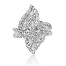 2.13 Ct Round Baguette Natural White Diamond Leaf Cocktail Ring Sterling Silver