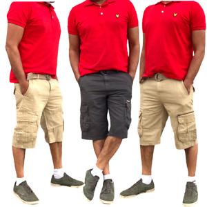 Mens Cargo Shorts Combat Knee Length Summer Pants 6 Pocket Belt Plus Size