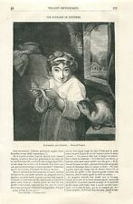 Servante Souris Cage Chat par Sir Joshua Reynolds GRAVURE ANTIQUE OLD PRINT 1870