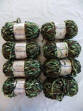 Eight 5 oz 245 yards Skeins of Yarn Bee Boucle Tradition Yarn Color Green Camo