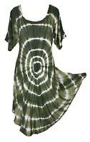 Gre Tie Dye Hippie Tunic Top Dress Boho Beach Kaftan Size 18 20 22 24 26 28 30