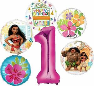 Moana Party Supplies 1st Birthday Balloon Bouquet Decorations - Pink Number 1