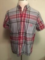 Tommy Hilfiger Jean Men's Shirt Large Short Sleeve Red Blue Plaid Button Down