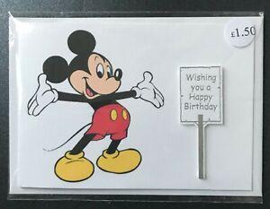 Mickey Mouse birthday card & envelope blank inside (landscape orientation)