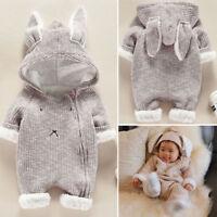Newborn Infant Baby Boy Girl Cartoon Hooded 3D Ear Romper Jumpsuit Clothes Hoode