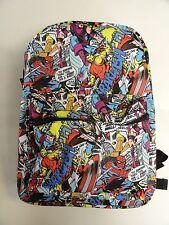 "Marvel Comics PRINT ALL OVER Backpack 16"" NEW Unisex School Bag"