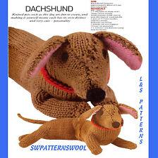 "LOVELY 15.5"" long  DACHSHUND SAUSAGE DOG TOY  TO KNIT, DK YARN KNITTING PATTERN"