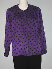 BRAEMAR by DIANA CHARLES Size 11 Purple Polka Dot Paisley Long Sleeve Blouse