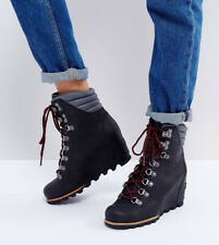 SOREL Conquest Waterproof Leather Lace Up Wedge Boots Black/Red Laces 8.5US