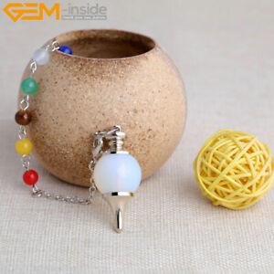 7 Chakra Crystal Healing Reiki Dowsing Pendant Necklace Chain Natural Ball Gems