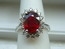 Large RUBY & DIAMOND ring 4.86 ctw oval Ruby,diamonds 14k solid white Gold $5900