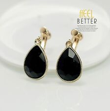 earrings Clip on Golden Drop Black Glass Faceted Class Simple D9