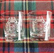 Set of 2 RALPH LAUREN Crest Logo Rocks Whiskey Glasses old fashioned