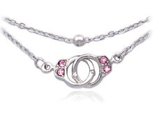 Pink Handcuffs Anklet Ankle Bracelet Bead Chain Jewelry Girl Friend Gift a4p