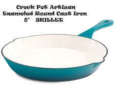 "Crock Pot Artisan Enameled Round Cast Iron 8"" Skillet Teal"