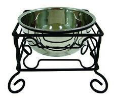 Large Hi-Raised Iron Dog Stand With Single Stainless Steel Bowl 10-Inch-584