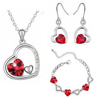 Red Hearts Jewellery Set Earrings Necklace & Bracelet Valentines Gift S408
