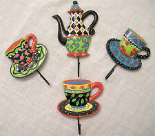 "JOYCE SHELTON RESIN ""TEA PARTY"" COLLECTION SET OF 4 CUP OR TOWEL HANGERS"