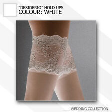 "White Bridal Deep Lace Top Hold Ups Stockings ""Desiderio"" 20 Denier"