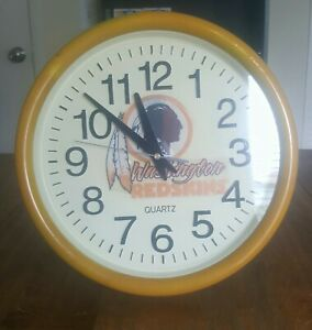 "Vintage 1994 NFL Washington Redskins Wall Clock 11"" Quartz By: Spartus"