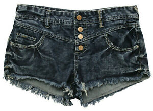 Amethyst medium wash button up high waist denim jean shorts women J SZ 7 raw hem