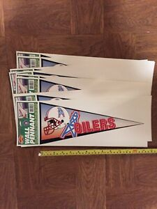 Vintage Lot Of 12 Houston Oilers Self Stick Wall Pennants Peel & Place NFL