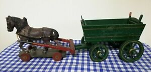 Victorian papier mache toy horse with painted wooden cart