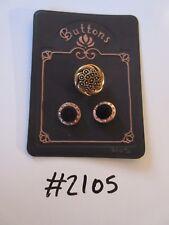 #2105 lotto di 3 Black & Gold colore bottoni