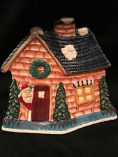 Fitz And Floyd Santa's Merry Christmas House Cookie Plate