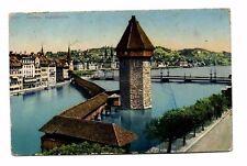 Switzerland - Lucerne/Luzern, Kapellbrucke - Vintage Postcard