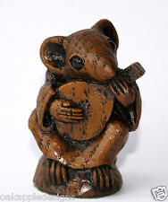 Church Mouse Musician Mandolin Carving Unique Cute Oak Musical Collectable Gift